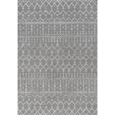 Moroccan HYPE Boho Vintage Diamond Gray/Ivory 3 ft. x 5 ft. Area Rug