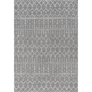 Moroccan HYPE Boho Vintage Diamond Gray/Ivory 5 ft. x 8 ft. Area Rug
