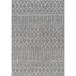 Moroccan Hype Boho Vintage Gray/Ivory 8 ft. x 10 ft. Distressed Area Rug
