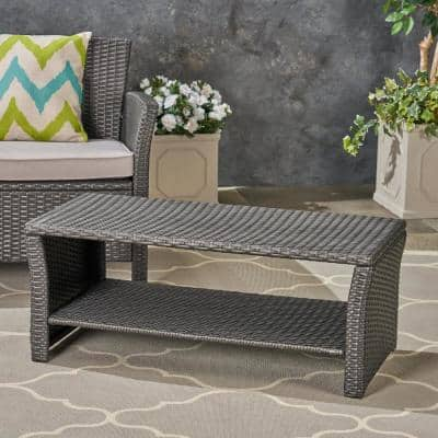 St. Lucia Grey Wicker Outdoor Coffee Table