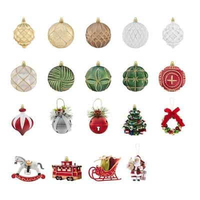 3 in. Multi Color Ornament Pack Seasonal Splendor (19-Count)