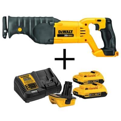 20-Volt MAX Cordless Reciprocating Saw with 18-Volt to 20-Volt MAX Lithium-Ion Battery Adapter Kit (2-Pack)