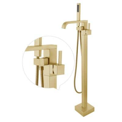 Brushed Brass Single-Handle Floor-Mounted Bathtub Faucet High Flow Bathroom Tub Filler with Hand Shower