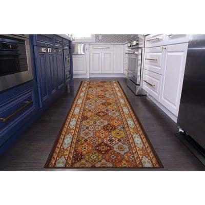 "Bakhtiari Design Cut to Size Multicolor Color 36"" Width x Your Choice Length Custom Size Slip Resistant Runner Rug"