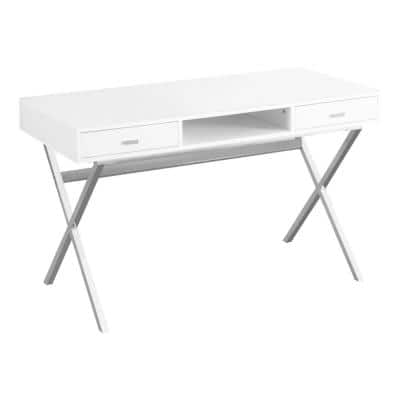 59 in. Rectangular White 2 Drawer Writing Desk with Keyboard Tray