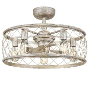 Dury 22 in. Century Silver Leaf Fan with Light