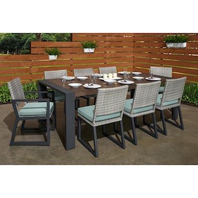 Milo Grey 9-Piece Wicker Outdoor Dining Set with Sunbrella Spa Blue Cushions