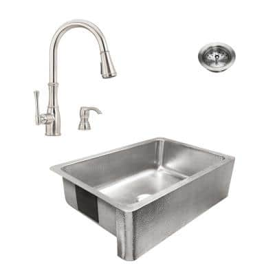 Percy All-in-One Brushed Stainless Steel 32 in. Single Bowl Farmhouse Apron Kitchen Sink with Pfister Faucet and Drain