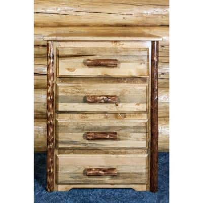 Glacier Country 4-Drawer Stained and Lacquered Chest of Drawers