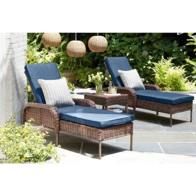 Cambridge Brown Wicker Outdoor Patio Chaise Lounge with CushionGuard Midnight Navy Blue Cushions