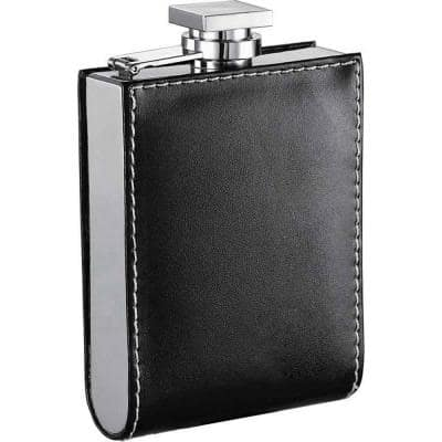 Wallet Black Hip Flask 6 oz.