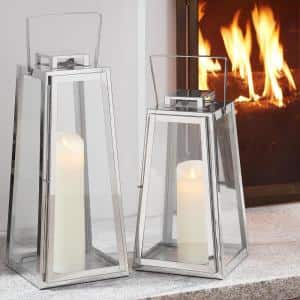 Silver Metal Candle Hanging or Tabletop Lantern (Set of 2)