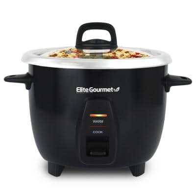 Gourmet 10-cup Black Rice Cooker with Steam Tray and Stainless-Steel Inner Pot