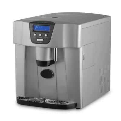 Silver Portable 33 lbs. per day Ice Maker and Dispenser Kitchen Countertop Ice Cube Making Machine and Water Dispenser