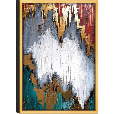 """Expressionist Piece 'No. 1' Print Wall Art with Gold Frame, 32"""" L x 47""""W"""