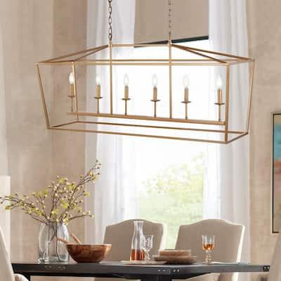 Pagoda 49 in. 6-Bulb Antique Gold Lantern Metal LED Pendant