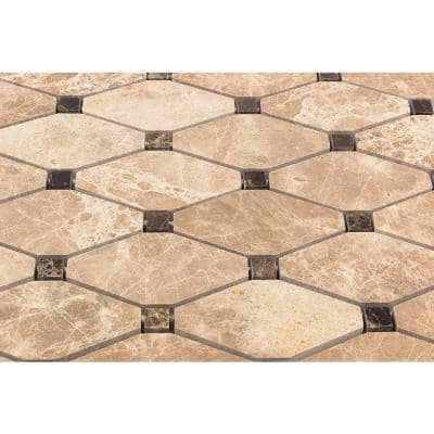 Diapson Light Emperador with Dark Emperador Dot 10 in. x 10 in. x 10 mm Polished Marble Mosaic Tile