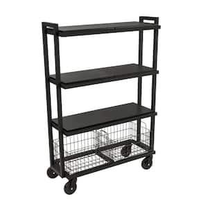 4-Tier Steel Cart System Wide in Black