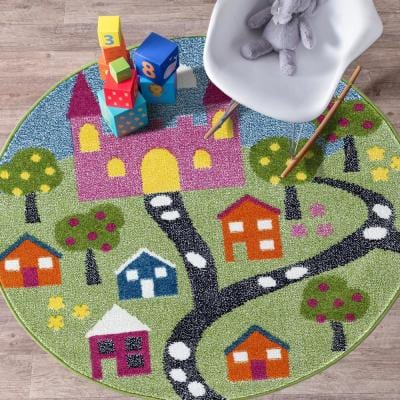 Whimsical Fairytale 5 ft. Round Indoor Area Rug
