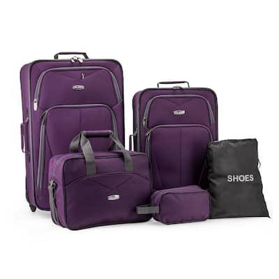 Elite Purple Luggage Whitfield 5-Piece Soft side Lightweight Rolling Luggage Set