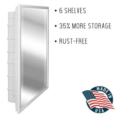 Capella 16 in. x 26 in. x 3-1/2 in. Framed Recessed 1-Door Bathroom Medicine Cabinet with 6-Shelves and White Frame