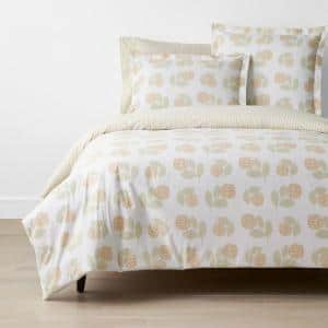 Company Cotton Hydrangea Yellow Floral Full Percale Duvet Cover