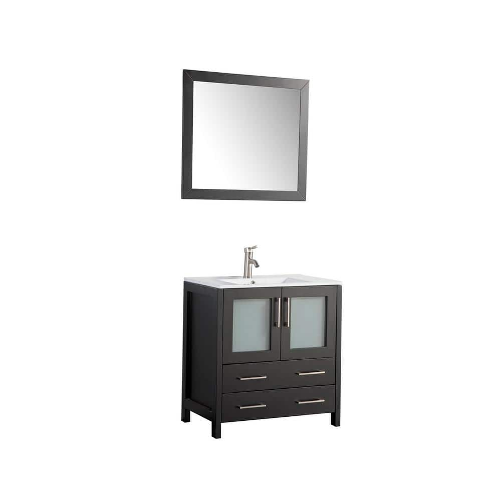 Vanity Art Brescia 30 In W X 18 In D X 36 In H Bath Vanity In Espresso With Vanity Top In White With White Basin And Mirror Va3030e The Home Depot