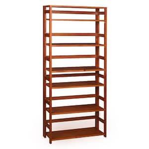 67 in. Cherry Wood 6-shelf Standard Bookcase