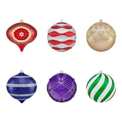 8 in. Multi Color Shatterproof Ornament (6-Count)