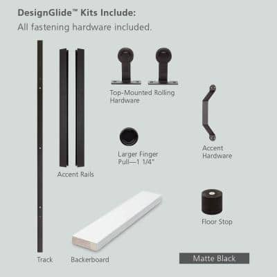 84 in. DesignGlide Matte Black Soft-Close Barn Door Sliding Door Hardware Kit