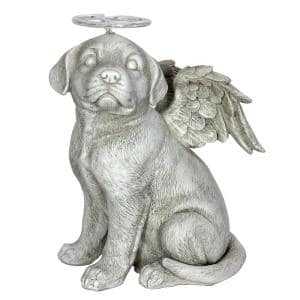 Solar Halo Dog with Wings Garden Statue