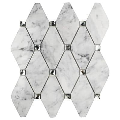 Mirage Lozenge Carrara 11.25 in. x 10.5 in. x 8 mm Marble and Glass Wall Mosaic Tile