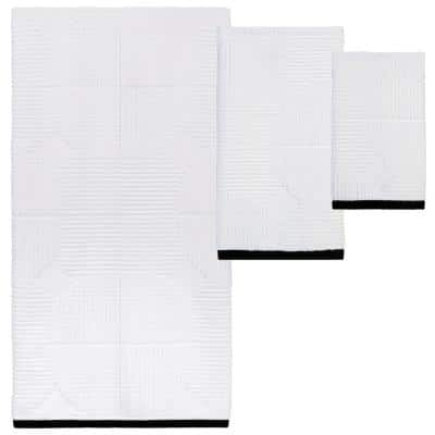 Metro Circles White and Black 3-Piece Towel Set