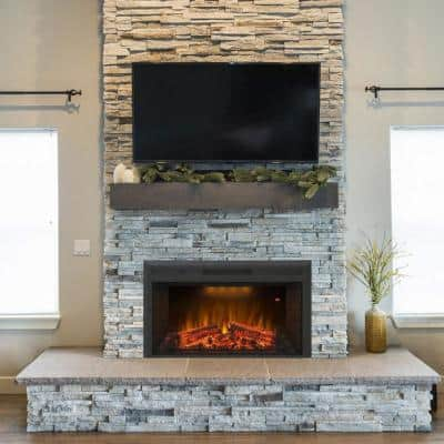 35.6 in. Electric Fireplace Insert in Black