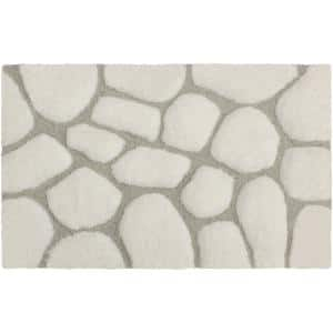 Super Plush White/Light Gray 17 in. x 24 in. Pebble Microfiber Bath Rug