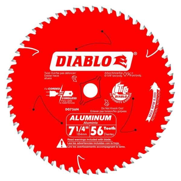 Diablo 7 1 4 In X 56 Tooth Aluminum, Saw Blade For Laminate Flooring Home Depot