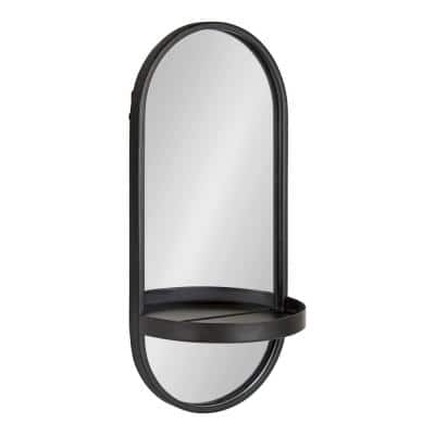 Medium Oval Black Modern Mirror (24.2 in. H x 11 in. W)