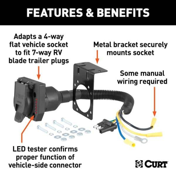 Curt Electrical Adapter With Tester 4, 7 Way Rv Flat Blade Trailer Side Wiring Diagram