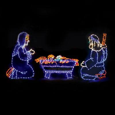50 in. Christmas LED Nativity Scene (Joseph, Mary and Baby Jesus) with 421-Lights and White Frame (Set of 3)