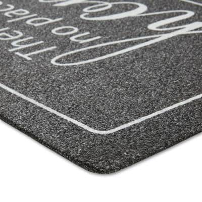 Mia No Place Charcoal 18 in. W x 48 in. L Graphic Print Polypropylene Outdoor Mat
