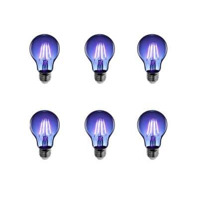 25-Watt Equivalent A19 Medium E26 Base Dimmable Filament Blue Colored LED Clear Glass Light Bulb (6-Pack)