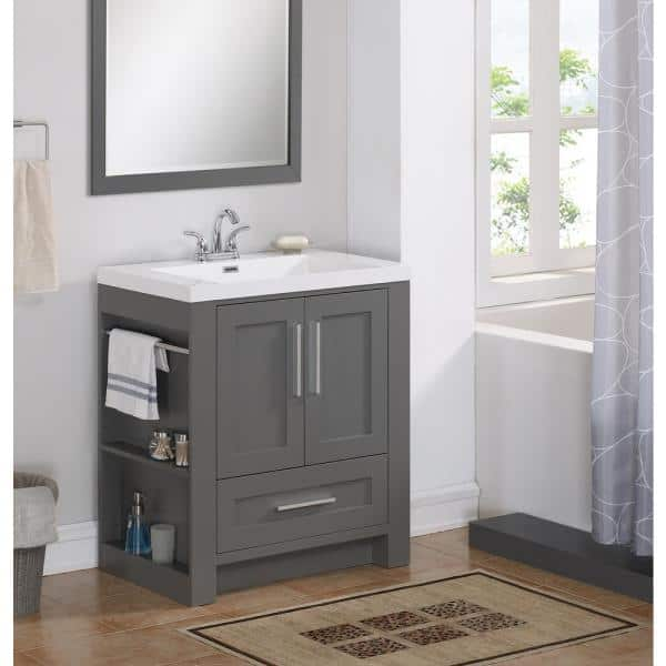 Runfine 30 In W X 19 1 In D X 34 0 In H Bathroom Vanity In Modern Gray With Cultured Marble Top And Basin In White Rf110079 The Home Depot