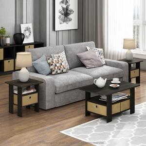 Home Living Espresso Storage End Table (Set of 2)