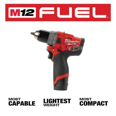 M12 FUEL 12-Volt Li-Ion Brushless Cordless Hammer Drill/Impact/ Right Angle Impact Wrench Combo Kit (3-Tool) w/ Ratchet