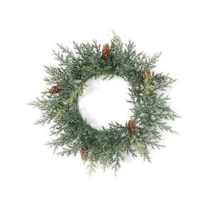 16 in. Artificial Frosted Arborvitae Mini Wreath