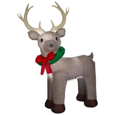 11 ft. Pre-Lit Giant Airblown Inflatable Fuzzy Reindeer