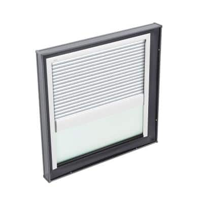 34-1/2 in. x 34-1/2 in. Fixed Curb Mount Skylight with Tempered Low-E3 Glass and White Manual Room Darkening Blind