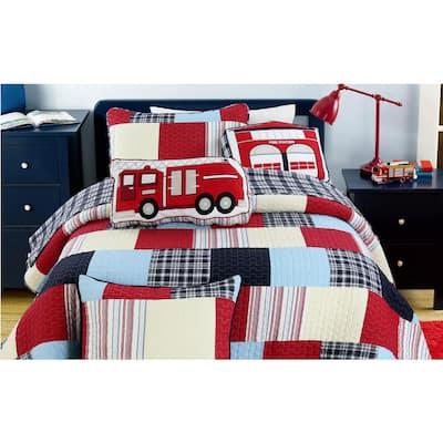 Fire House Fireman Hero Rescue Dalmatian 2-Piece Plaid Striped Patchwork Red White Blue Cotton Twin Quilt Bedding Set