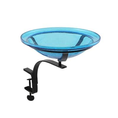 12.5 in. Dia Teal Blue Reflective Crackle Glass Birdbath Bowl with Rail Mount Bracket