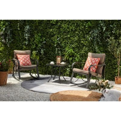 Venice 3-Piece Steel Outdoor Patio Bistro Set with Brown Cushion